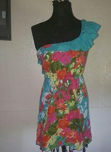 Lots of Love Aqua Bright Floral Tropical Dress